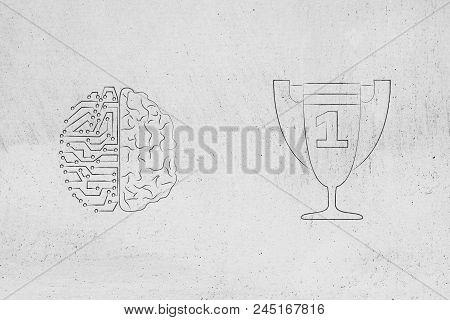 Genius Mind Conceptual Illustration:half Digital Half Human Brain Next To 1st Place Competition Winn