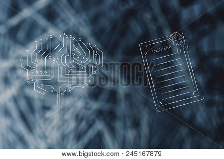 Genius Mind Conceptual Illustration: Digital Brain Next To Degree Diploma With Ribbon