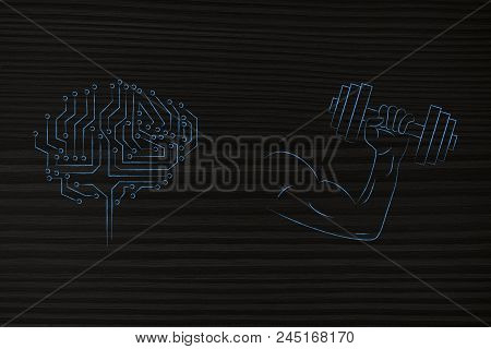 Genius Mind Conceptual Illustration: Digital Brain Next To Powerful Arm Holding Dumbbell