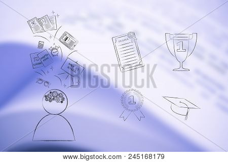 Genius Mind Conceptual Illustration: Student Thinking About School Next To Group Of Education Accomp