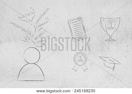 Genius Mind Conceptual Illustration: Pupil With Dreams Captions Above His Head Next To Group Of Educ