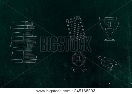 Genius Mind Conceptual Illustration: Pile Of Books Next To Group Of Education Accomplishment Icons F