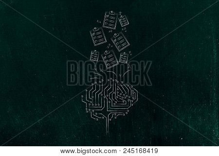 Genius Mind Conceptual Illustration: Digital Brain With To Do Lists Going In Or Out Of It