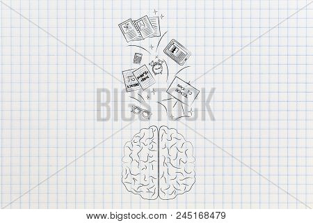 Genius Mind Conceptual Illustration: Brain With School Items Going In Or Out Of It