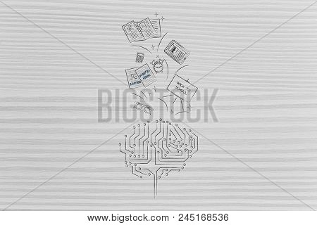 Genius Mind Conceptual Illustration: Digital Brain With School Items Going In Or Out Of It