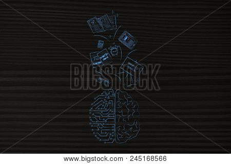 Genius Mind Conceptual Illustration: Half Digital Half Human Brain With School Items Going In Or Out