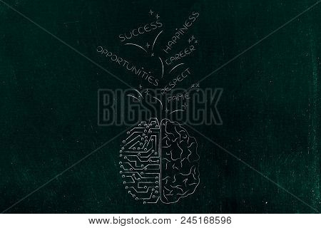 Genius Mind Conceptual Illustration: Half Human Half Digital Brain With Success And Opportunities-re