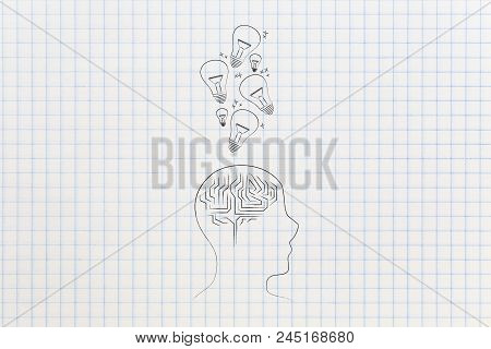 Genius Mind Conceptual Illustration: Profile Head With Brain Icon With Idea Light Bulbs Going In Or