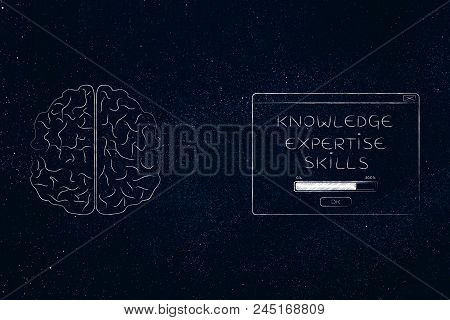 Genius Mind Conceptual Illustration: Brain Next To Knowledge Expertise Skills Loading Pop-up Message