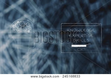 Genius Mind Conceptual Illustration: Head With Gearwheels And Next To Knowledge Expertise Skills Loa