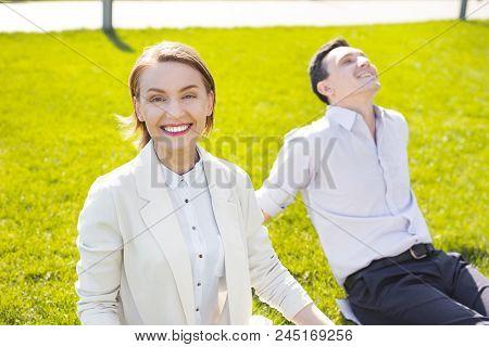 Short Haircut. Smiling Prosperous Businesswoman With Stylish Short Haircut Smiling Broadly Feeling S