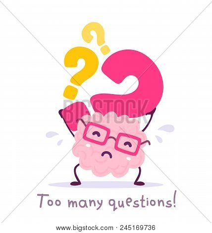 Vector Illustration Of Pink Color Smile Brain With Glasses Holding Question Mark On White Background