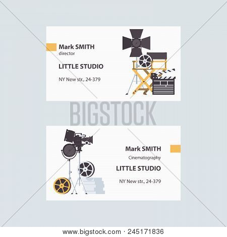 Vector Business Cards With Cinema Filming Tools Like Directors Chair, Spotlights, Bobbin And Clapper