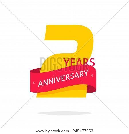 2 Years Anniversary Logo Template Isolated On White, Number 2 Anniversary Icon Label With Red Ribbon
