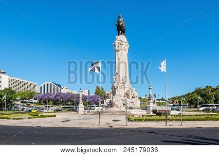 Lisbon, Portugal - May 19, 2017: The Marquess Of Pombal Square Roundabout In The City Of Lisbon, Por
