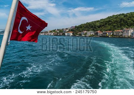 Beautiful Scenic View Of Bosphorus Coastline With Flag Of Turkey In Istanbul