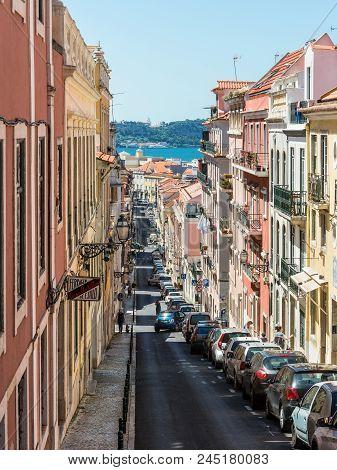 Lisbon, Portugal - May 19, 2017: Beautiful Old Narrow R. De Sao Marcal Street In Lisbon, Portugal.