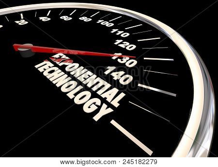 Exponential Technology Innovation Growth Change Words 3d Illustration