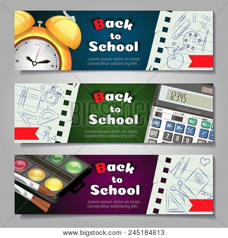 A Set Of Three Horizontal Banners With School Supplies And Elements.templates With Supplies Tools. V