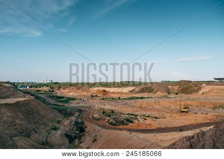 Industrial Sand Quarry With Hydraulic Excavator Machinery For Construction. Beautiful Industrial Lan