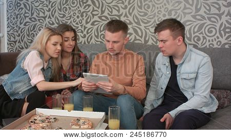 Nuce Teen Couple Communicate, When His Friend With Tablet Interrupts