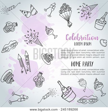 Birthday Party Doodle Background Card. Vector Template Banners For Poster, Invitation, Flyer, Party,