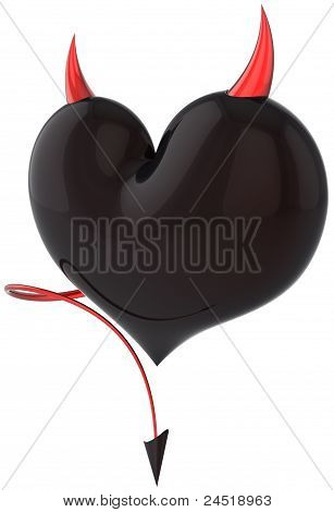 Heart of Devil Love shiny black with red sharp horns