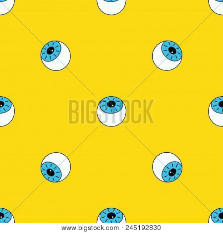 Seamless Pattern With Eyes On Yellow, Background With Eyes, Wallpapers With Cartoon Blue Eyes