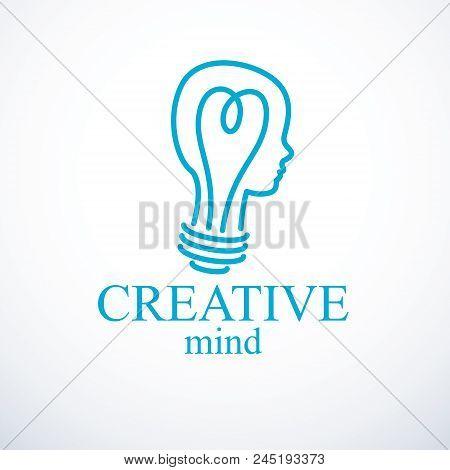Creative Brain Concept, Intelligent Person Vector Logo. Light Bulb In A Shape Of Child Head Profile.