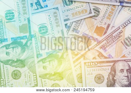 A Large Number Of New Hundred-dollar Disintegrated One Hundred Us Dollar Bills.