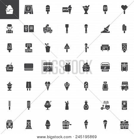 Ice Cream Shop Vector Icons Set, Modern Solid Symbol Collection, Filled Style Pictogram Pack. Signs,