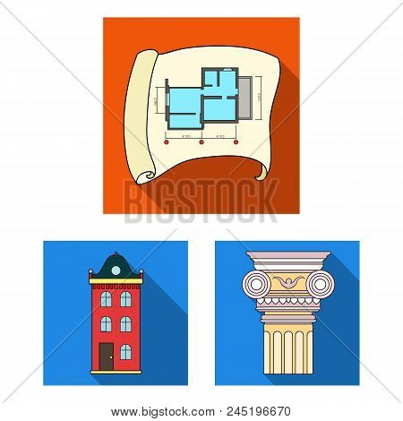 Architecture And Construction Flat Icons In Set Collection For Design. Architect And Equipment Vecto