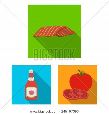 Burger And Ingredients Flat Icons In Set Collection For Design. Burger Cooking Vector Symbol Stock