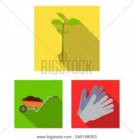 Farm And Gardening Flat Icons In Set Collection For Design. Farm And Equipment Vector Symbol Stock