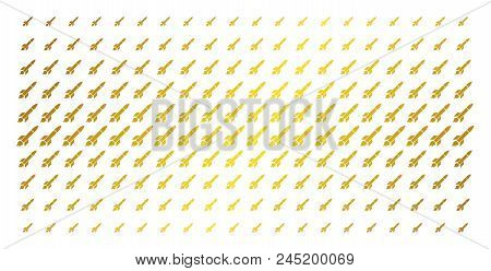 Missile Launch Icon Gold Colored Halftone Pattern. Vector Missile Launch Shapes Are Arranged Into Ha