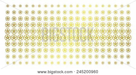 Star Pentacle Icon Golden Halftone Pattern. Vector Star Pentacle Symbols Are Arranged Into Halftone