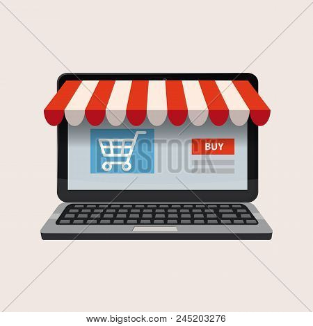 Black Open Laptop With And Screen Buy. Computer Notebook. Concept Online Shopping