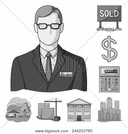 Realtor, Agency Monochrome Icons In Set Collection For Design. Buying And Selling Real Estate Vector