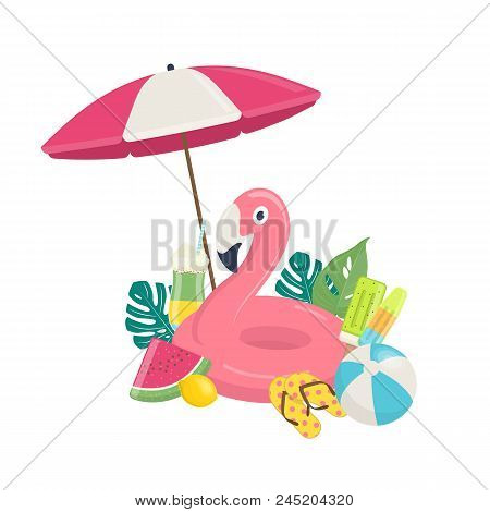 Summer Beach Vector Background With Pink Flamingo Inflatable Pool Float, Exotic Leaves,and Beach Acc