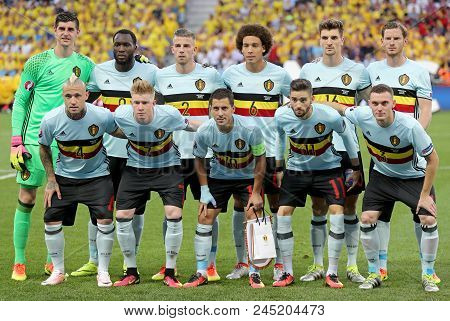 Nice, France - June 22, 2016: Players Of Belgium National Football Team Pose For A Group Photo Befor