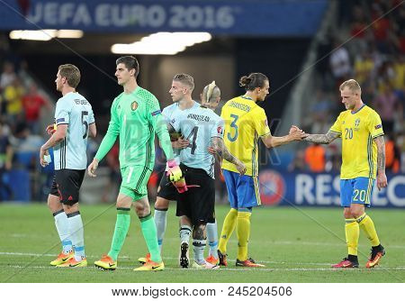 Nice, France - June 22, 2016: Swedish And Belgian Players Thanks Each Other After Their Uefa Euro 20