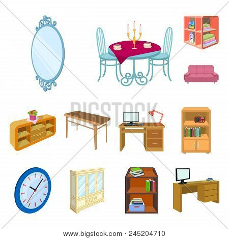 Furniture And Interior Cartoon Icons In Set Collection For Design. Home Furnishings Vector Isometric