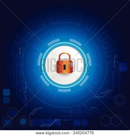 Virtual Blue Screen With Lock Background. Modern Screen Technology. Virtual Screens Technology Conce