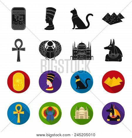 Anubis, Ankh, Cairo Citadel, Egyptian Beetle.ancient Egypt Set Collection Icons In Black, Flet Style