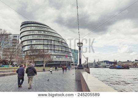 London, Uk - April 2018: The Curved Glass Building In Spherical Shape Of The City Hall Of London, An