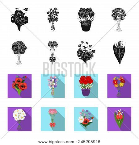 A Bouquet Of Fresh Flowers Black, Flet Icons In Set Collection For Design. Various Bouquets Vector S