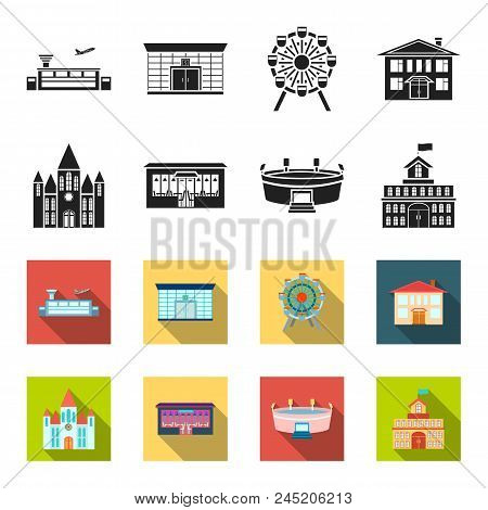 House Of Government, Stadium, Cafe, Church.building Set Collection Icons In Black, Flet Style Vector