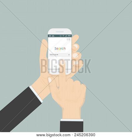Hand Holding Smartphone And Search Browser Window On The Screen Isolated On The Background.browser S