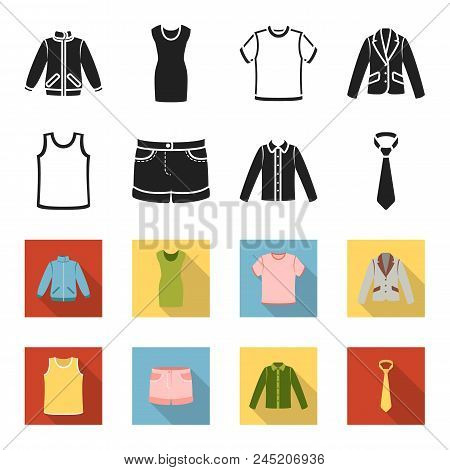 Shirt With Long Sleeves, Shorts, T-shirt, Tie.clothing Set Collection Icons In Black, Flet Style Vec