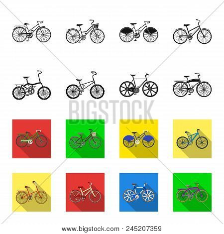 Children's Bicycle And Other Kinds.different Bicycles Set Collection Icons In Black,flet Style Vecto